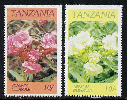 Tanzania 1986 Flowers 10s (Nersium) with red omitted, complete sheetlet of 8 plus normal sheet, both unmounted mint as SG 476