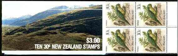 Booklet - New Zealand 1986 $3 Matukituki booklet containing 10 x 30c Kakapo, complete and pristine, SB 41