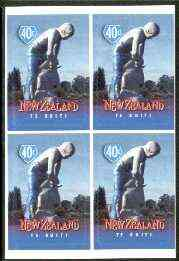New Zealand 1998 Town Icons 40c Sheep Shearer self-adhesive block of 4 unmounted mint, SG 2200