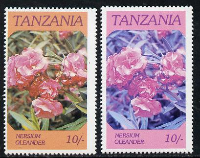 Tanzania 1986 Flowers 10s (Nersium) with yellow omitted, complete sheetlet of 8 plus normal sheet, both unmounted mint as SG 476