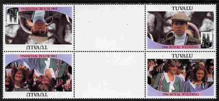 Tuvalu 1986 Royal Wedding (Andrew & Fergie) $1 perf tete-beche inter-paneau gutter block of 4 (2 se-tenant pairs) with face value omitted unmounted mint SG 399-400var