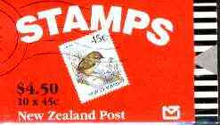 Booklet - New Zealand 1991 $4.50 booklet containing 10 x 45c Rock Wren, complete and pristine, SB 59