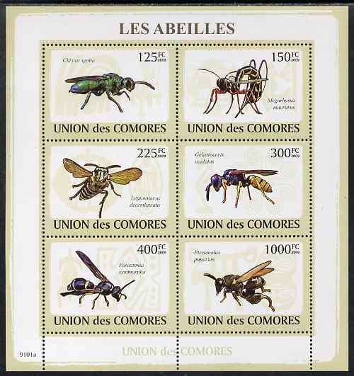Comoro Islands 2009 Bees perf sheetlet containing set of 6 unmounted mint