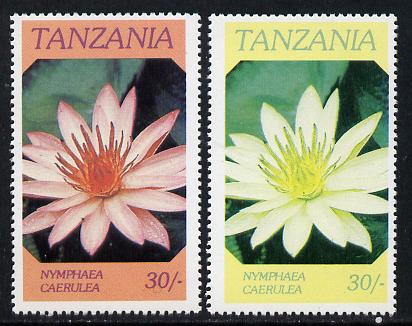 Tanzania 1986 Flowers 30s (Nymphaea) with red omitted, complete sheetlet of 8 plus normal sheet, both unmounted mint as SG 477
