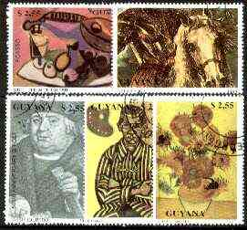 Guyana 1990 Paintings complete set of 5 fine cto used*