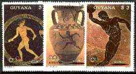 Guyana 1987 Summer Olympics (Greek Pottery) set of 3 fine cto used, Sc #1852-54*