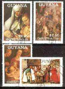 Guyana 1989 Christmas Paintings complete set of 4 fine cto used. Sc #2236-39*