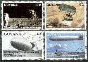 Guyana 1988 Aviation Achievements (Man on Moon, Zeppelins, etc) complete set of 4 fine cto used. Sc #2008