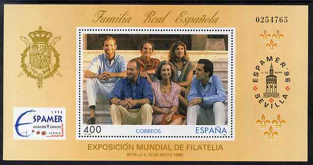Spain 1996 Espamer Stamp Exhibition perf m/sheet (Royal Family) unmounted mint SG MS 3382b