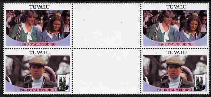 Tuvalu 1986 Royal Wedding (Andrew & Fergie) $1 perf inter-paneau gutter block of 4 (2 se-tenant pairs) with face value omitted unmounted mint SG 399-400var