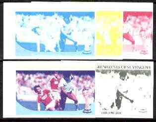 St Vincent - Bequia 1986 World Cup Football $1.50 (USSR v England) set of 5 imperf progressive colour proofs comprising the 4 basic colours plus blue & magenta composite ...