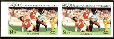 St Vincent - Bequia 1986 World Cup Football $1.50 (USSR v England) unmounted mint imperf pair