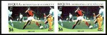 St Vincent - Bequia 1986 World Cup Football $6 (England Team) unmounted mint imperf pair