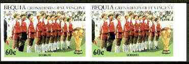 St Vincent - Bequia 1986 World Cup Football 60c (Denmark Team) unmounted mint imperf pair