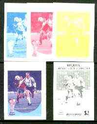 St Vincent - Bequia 1986 World Cup Football $2 (W Germany) set of 5 imperf progressive colour proofs comprising the 4 basic colours plus blue & magenta composite unmounted mint