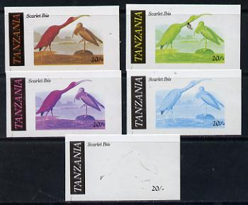 Tanzania 1986 John Audubon Birds 20s (Scarlet Ibis) set of 5 unmounted mint imperf progressive colour proofs incl all 4 colours (as SG 466)