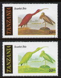 Tanzania 1986 John Audubon Birds 20s (Scarlet Ibis) with red omitted, complete sheetlet of 8 plus normal sheet, both unmounted mint (as SG 466)