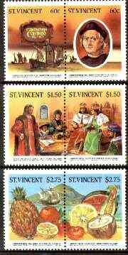 St Vincent 1986 500th Anniversary of Discovery of America (1st issue) perf set of 6 (3 se-tenant pairs) unmounted mint SG 952-57