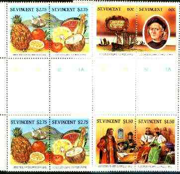 St Vincent 1986 500th Anniversary of Discovery of America (1st issue) perf set of 6 (3 se-tenant pairs) in se-tenant gutter pairs from uncut archive sheets (some ms markings) unmounted mint as SG 952-57