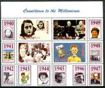 Angola 1999 Countdown to the Millennium #05 (1940-1949) perf sheetlet containing 4 values (Yalta Conf, Betty Grable, Judy Garland, Anne Frank & Pippi Longstocking) unmoun...