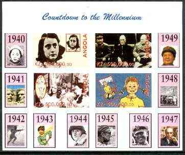 Angola 1999 Countdown to the Millennium #05 (1940-1949) imperf sheetlet containing 4 values (Yalta Conf, Betty Grable, Judy Garland, Anne Frank & Pippi Longstocking) unmo...