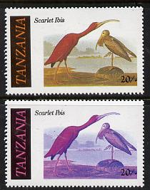 Tanzania 1986 John Audubon Birds 20s (Scarlet Ibis) with yellow omitted, complete sheetlet of 8 plus normal sheet, both unmounted mint (as SG 466), stamps on audubon  birds