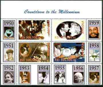 Angola 1999 Countdown to the Millennium #06 (1950-1959) perf sheetlet containing 4 values (Grace Kelly, Marilyn, Peanuts Cartoon & Laika  with Sputnik) unmounted mint