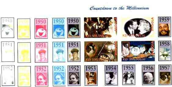Angola 1999 Countdown to the Millennium #06 (1950-1959) sheetlet containing 4 values (Grace Kelly, Marilyn, Peanuts Cartoon & Laika  with Sputnik) the set of 5 imperf pro...