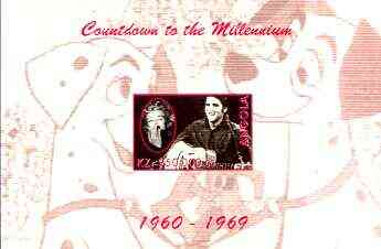 Angola 1999 Countdown to the Millennium #07 (1960-1969) imperf souvenir sheet (Elvis, Marilyn and 101 Dalmations) unmounted mint