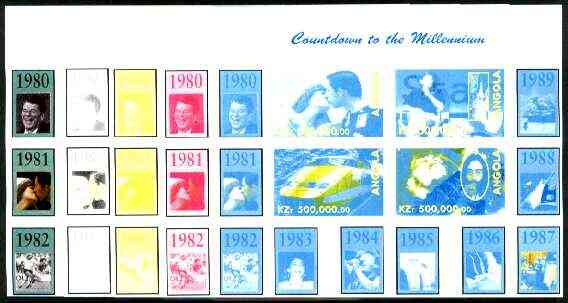 Angola 1999 Countdown to the Millennium #09 (1980-1989) sheetlet containing 4 values (Charles & Di, SNCF Train, Bill Gates, Shuttle, Lennon & Marley) the set of 5 imperf ...