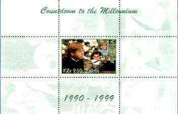 Angola 1999 Countdown to the Millennium #10 (1990-1999) perf souvenir sheet (Elton John & Diana, Senna & Euro-Disney) unmounted mint