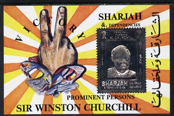 Sharjah 1972 (?) Churchill 6r m/sheet with main design embossed in silver unmounted mint