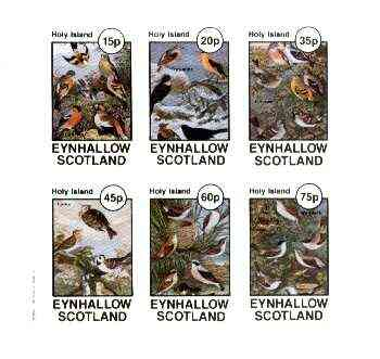 Eynhallow 1982 Mixed Birds (Finches, Thrushes, Larks & Warblers) imperf set of 6 values unmounted mint