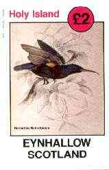 Eynhallow 1982 Sunbirds (Nectarinia mahrattensis) imperf deluxe sheet (�2 value) unmounted mint, stamps on birds, stamps on sunbirds