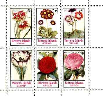 Bernera 1982 Flowers #22 (Auriculas, Rose, Tulip, etc) perf  set of 6 values unmounted mint