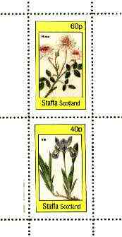 Staffa 1982 Flowers #51 (Rosa & Iris) perf set of 2 values (40p & 60p) unmounted mint