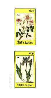 Staffa 1982 Flowers #51 (Rosa & Iris) imperf set of 2 values (40p & 60p) unmounted mint