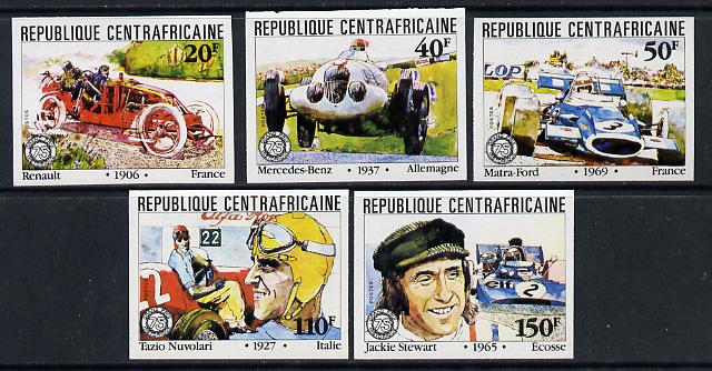 Central African Republic 1981 French Grand Prix (Cars & Drivers) imperf set of 5 unmounted mint