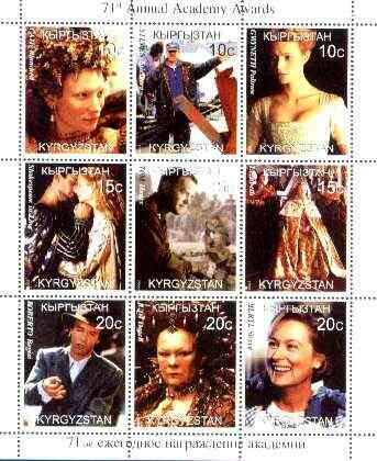 Kyrgyzstan 1999 Academy Awards perf sheetlet containing complete set of 9 values (Shakespeare in Love, Spielberg, Judi Dench, etc) unmounted mint