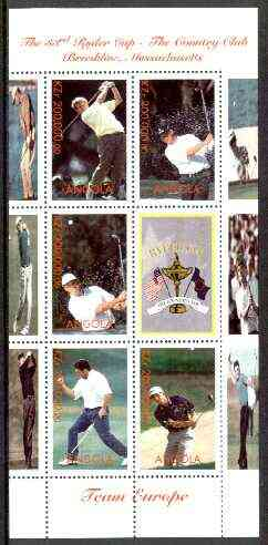 Angola 1999 Golf Ryder Cup (Europe Team) perf sheetlet containing 6 values unmounted mint