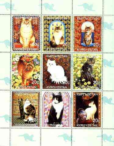 Kyrgyzstan 1999 Domestic Cats perf sheetlet containing complete set of 9 values unmounted mint