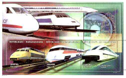 Madagascar 1999 Railways (Modern) perf souvenir sheet containing 3 values unmounted mint