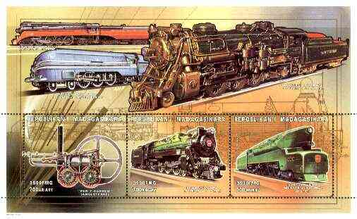 Madagascar 1999 Railways (Early) perf souvenir sheet containing 3 values unmounted mint