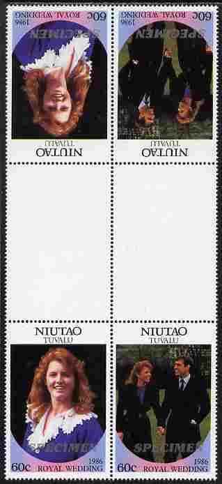 Tuvalu - Niutao 1986 Royal Wedding (Andrew & Fergie) 60c perf tete-beche inter-paneau gutter block of 4 (2 se-tenant pairs) overprinted SPECIMEN in silver (Italic caps 26.5 x 3 mm) unmounted mint from Printer's uncut proof sheet
