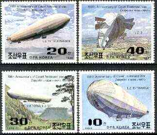 North Korea 1988 Birth Anniversary of Von Zeppelin perf set of 4 unmounted mint, SG N2801-2804*