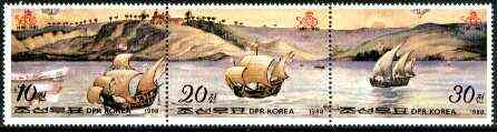 North Korea 1988 500th Anniversary of Discovery of America perf strip of 3 unmounted mint, SG N2754a