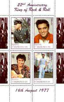 Turkmenistan 1999 22nd Death Anniversary of Elvis perf sheetlet containing set of 4 values unmounted mint