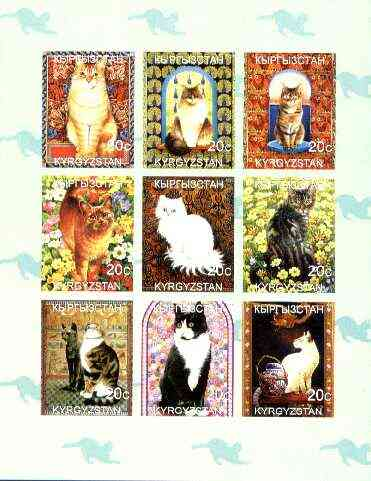 Kyrgyzstan 1999 Domestic Cats imperf sheetlet containing complete set of 9 values unmounted mint
