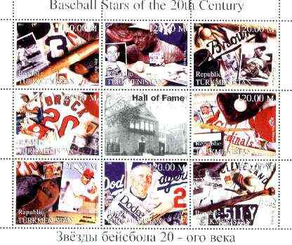 Turkmenistan 1999 Baseball Stars of the 20th Century perf sheetlet containing set of 8 values unmounted mint