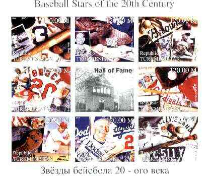 Turkmenistan 1999 Baseball Stars of the 20th Century imperf sheetlet containing set of 8 values unmounted mint